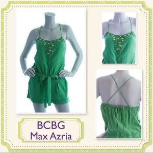 🆕 BCBG MAX AZRIA Beaded Green X-Back Romper. NWT
